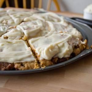 Cinnamon Roll Dessert Pizza from dishesanddustbunnies.com