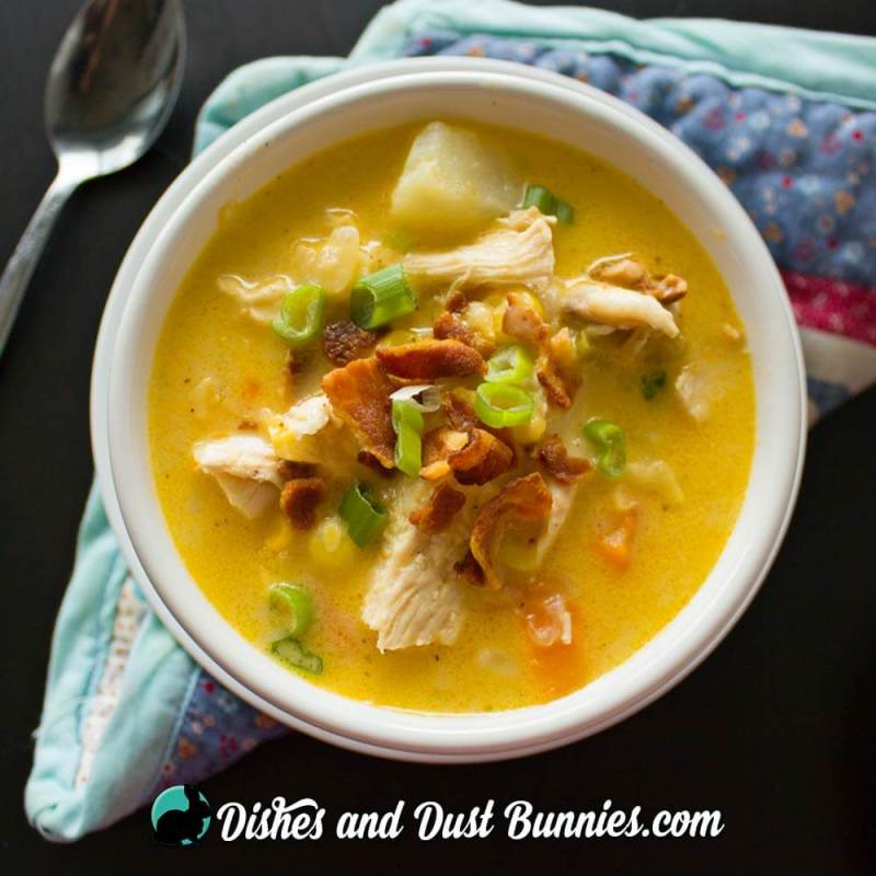 Chicken & Corn Chowder with Bacon from dishesanddustbunnies.com