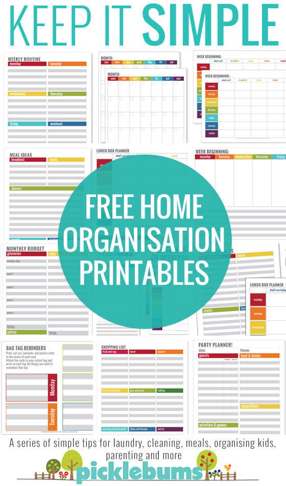 Simple Home Organisation Printables from Picklebums