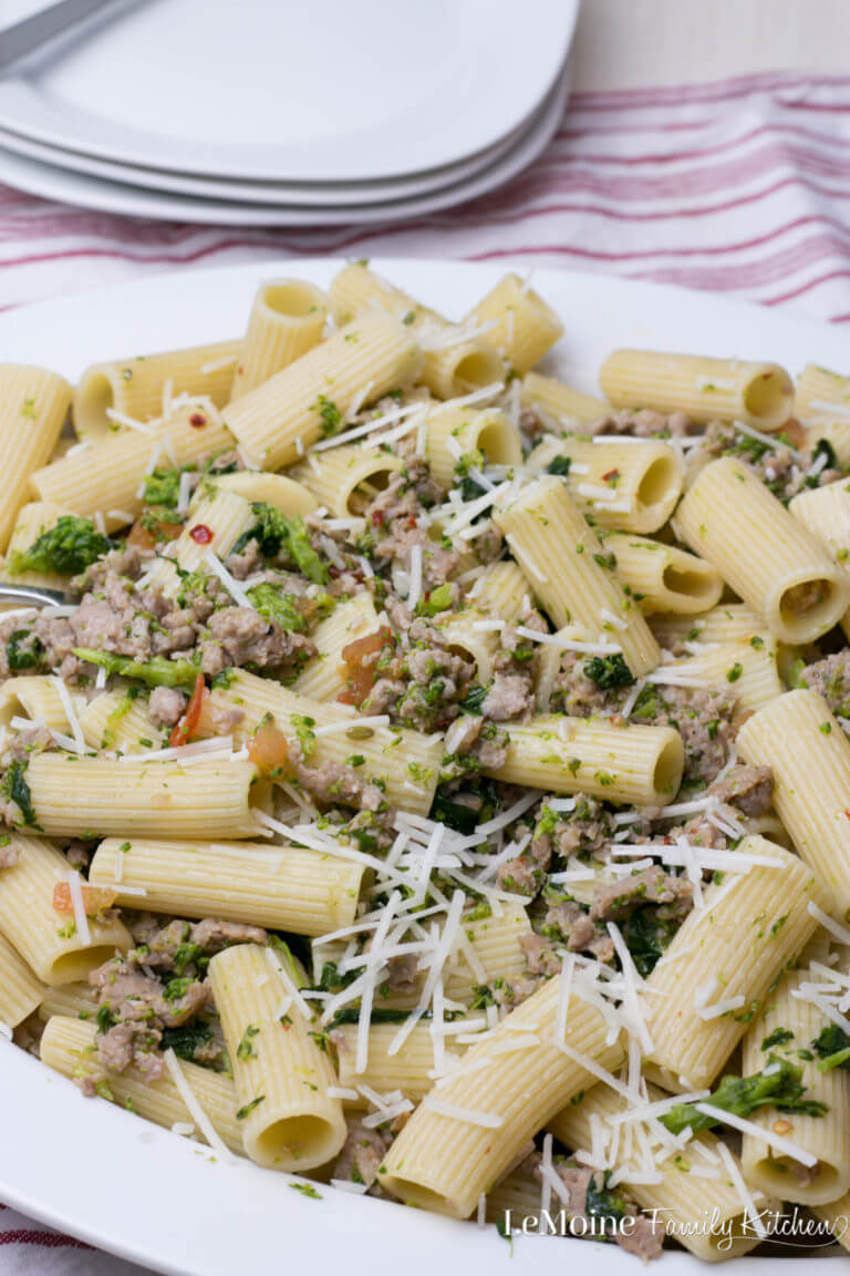 Rigatoni with Sausage & Broccoli Rabe from Lemoine Family Kitchen