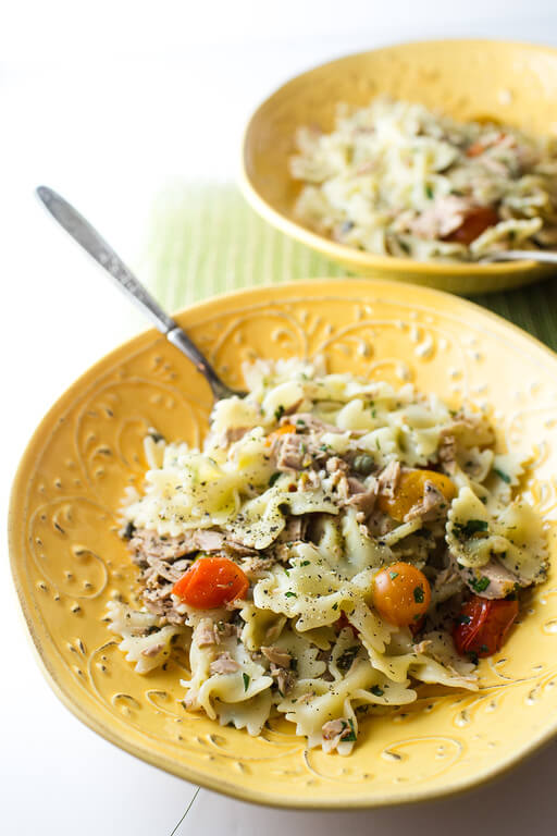 Easy Tuna and Tomato Pasta from Sidewalk Shoes
