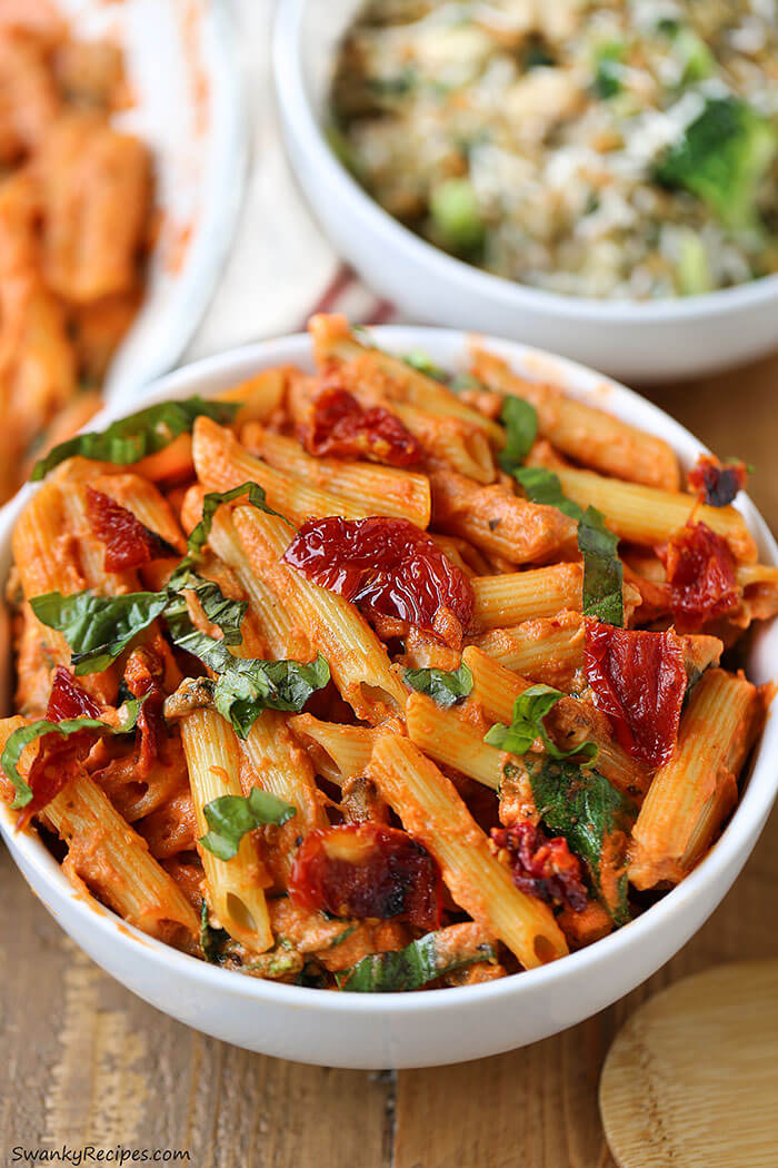 Mozzarella Penne Rosa Pasta with Sun-Dried Tomatoes from Swanky Recipes