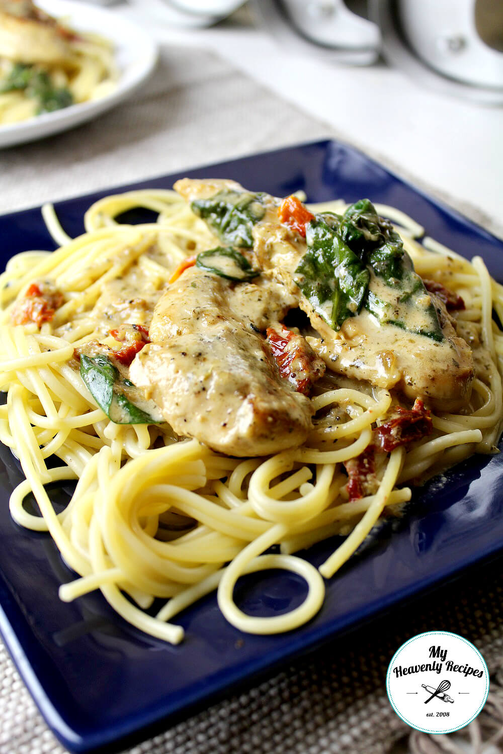 One Pot Creamy Chicken Tuscan Pasta from My Heavenly Recipes