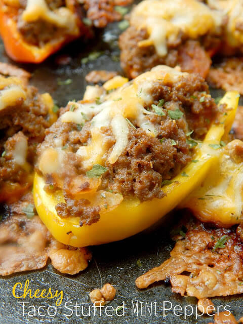 Cheesy Taco Stuffed Mini Peppers from Ally's Sweet & Savory Eats