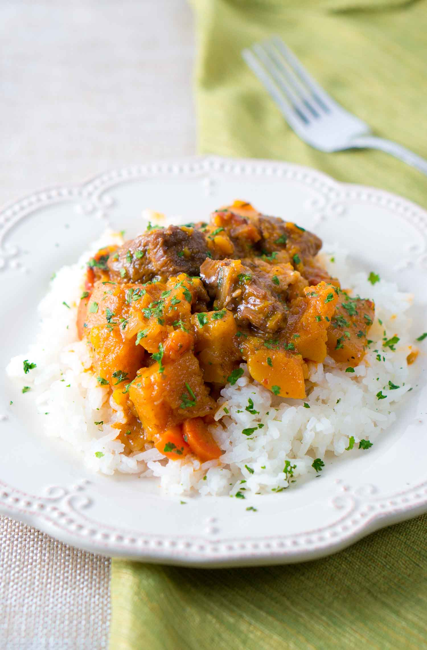 Beef and Butternut Squash Stew (Instant Pot) from Delicious Meets Healthy