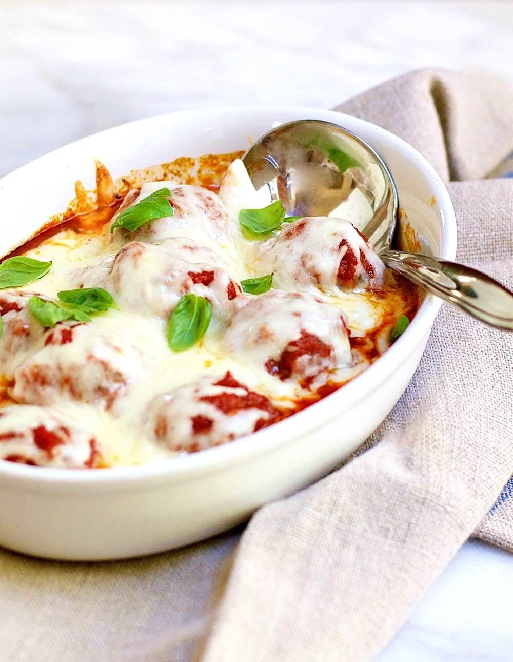 Cheesy Italian Meatballs from Pinch and Swirl