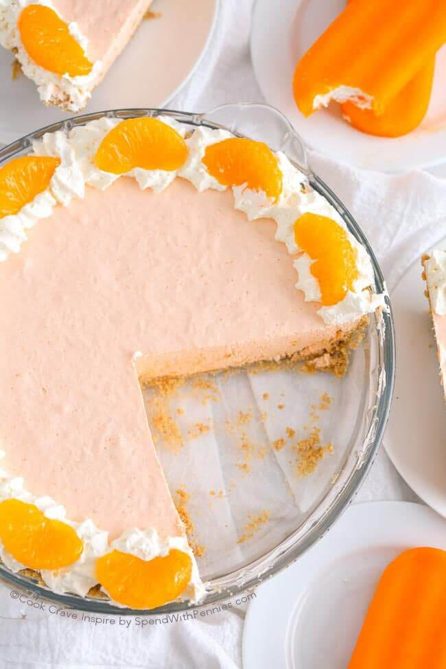 Dreamy Creamsicle Pie! Serve Soft or Frozen - from Spend with Pennies
