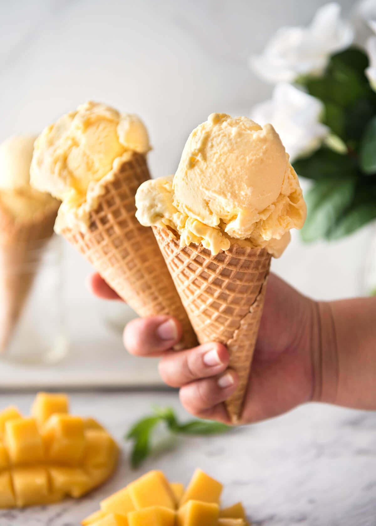 Homemade Mango Ice Cream Recipes (No Ice Cream Maker!) from RecipeTin Eats