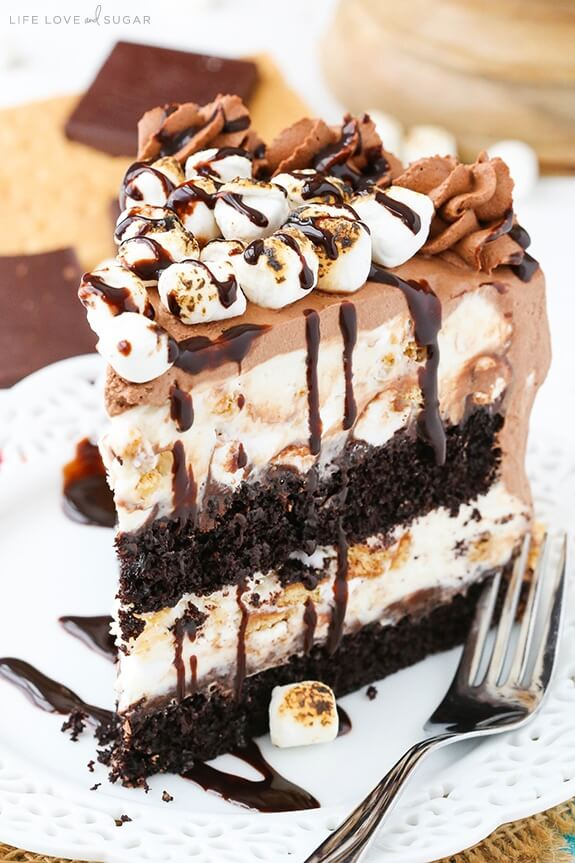 S'Mores Ice Cream Cake from Life, Love and Sugar