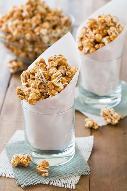 Pumpkin Pie Spice White Chocolate Caramel Popcorn from Cooking Classy