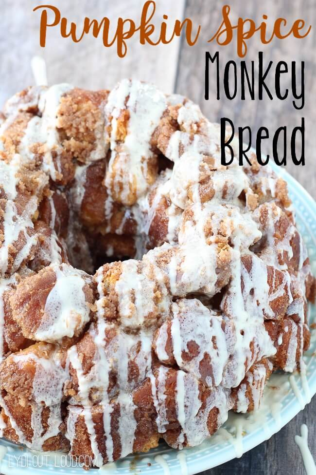 Pumpkin Spice Monkey Bread with Cream Cheese Glaze from Lydia Out Loud