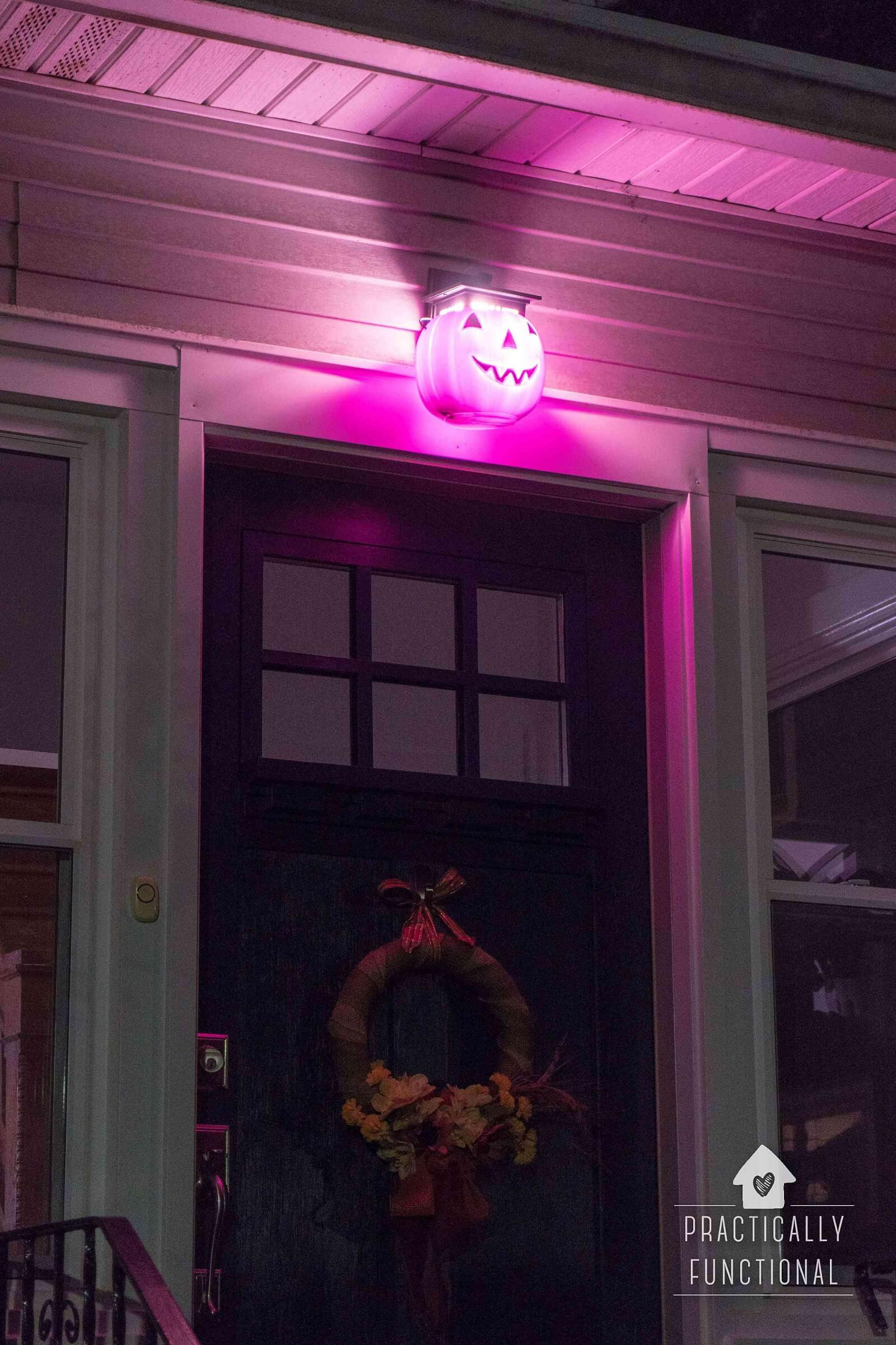 DIY Pumpkin Porch Light for Halloween from Practically Functional