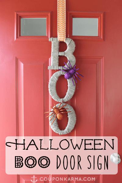 Easy to Make Halloween Hanging Door Sign from Money Saving Sisters