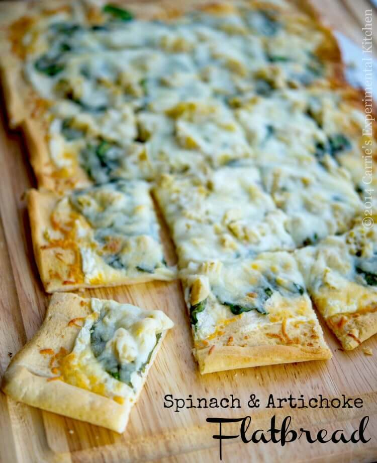 Spinach & Artichoke Flatbread from Carrie's Experimental Kitchen