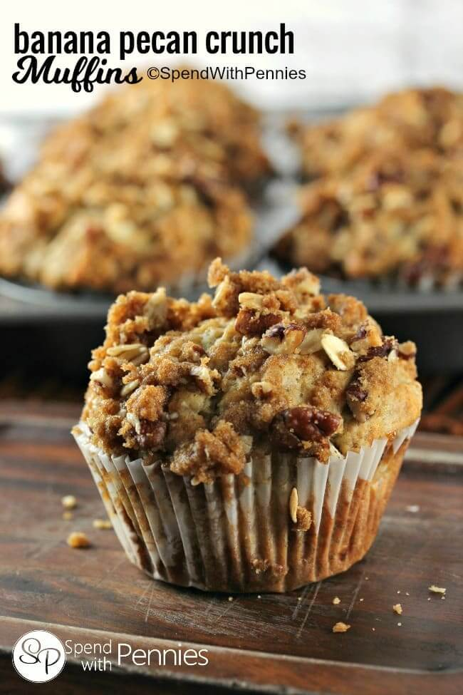 Banana Nut Crunch Muffins from Spend with Pennies