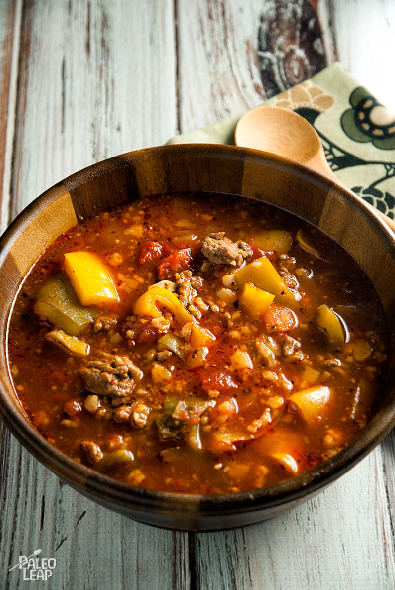 Slow Cooker Beef and Pepper Soup from Paleo Leap