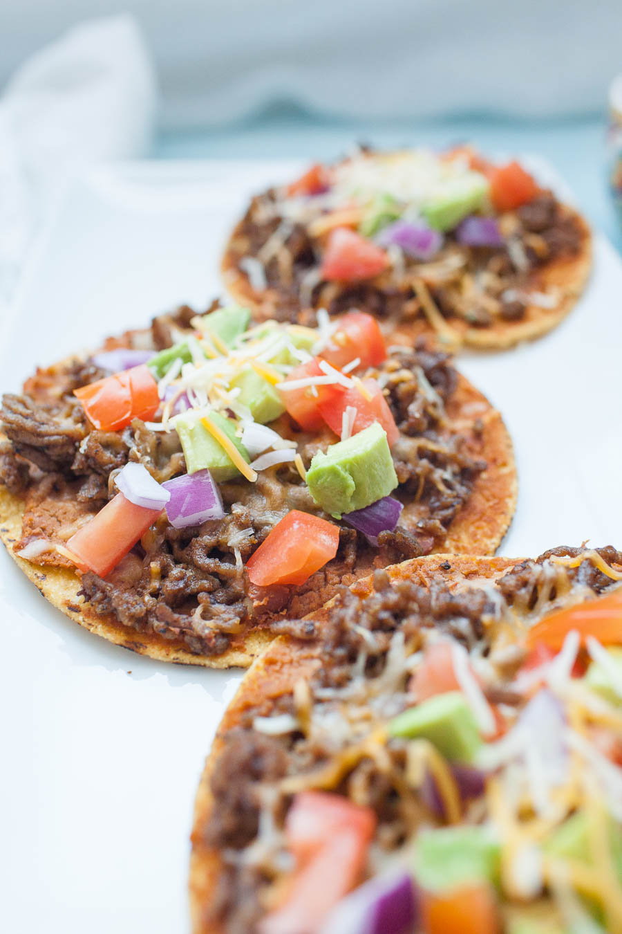 Easy Ground Beef Tostadas from a Joyfully Mad Kitchen