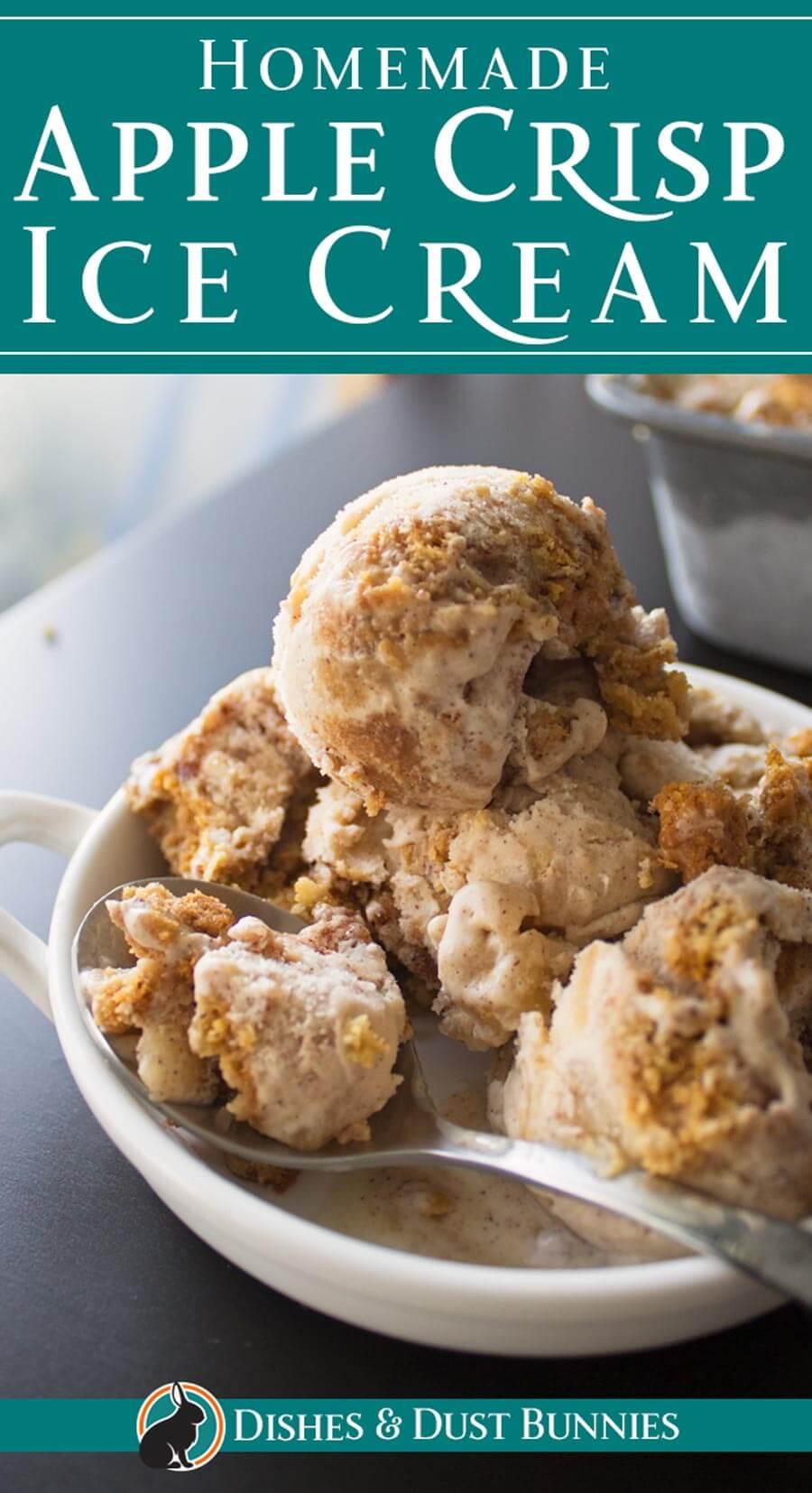 Homemade Apple Crisp Ice Cream via @mvdustbunnies