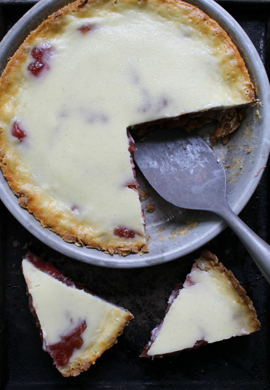 Rhubarb Custard Pie with and Oatmeal Cookie Crust from Dinner with Julie
