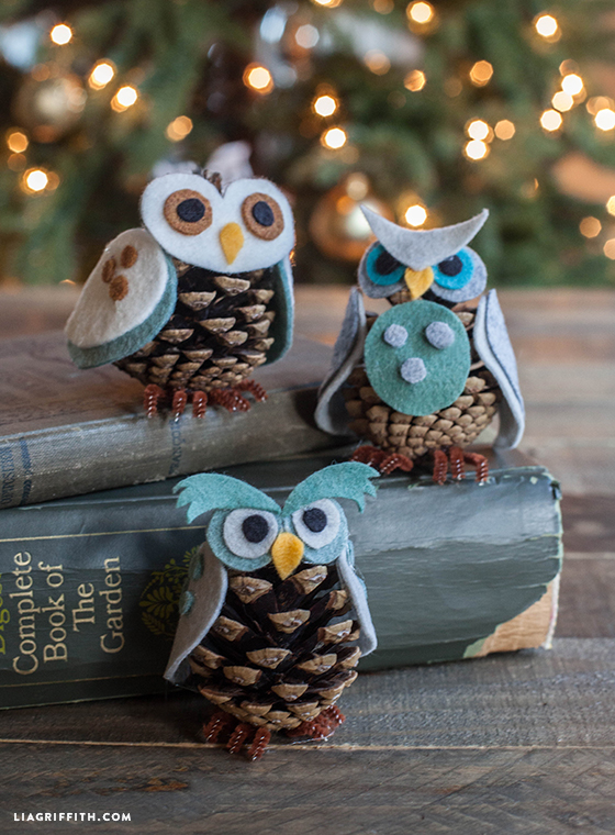 Pine Cone Owl Ornaments from Lia Griffith