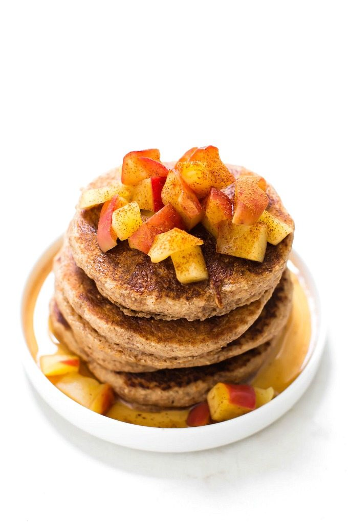 Healthy Fluffy Flourless Apple Pie Pancakes from The Big Man's World