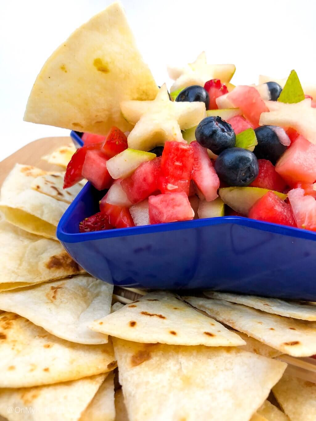 Red, White and Blue Fruit Salsa from On My Kids Plate