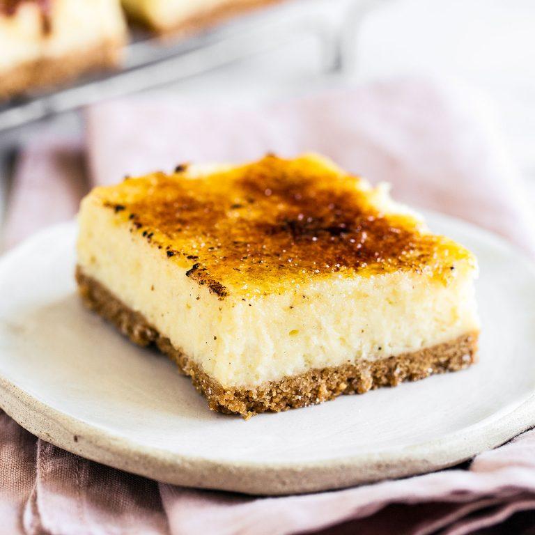 Crème Brûlée Cheesecake Bars from Handle The Heat