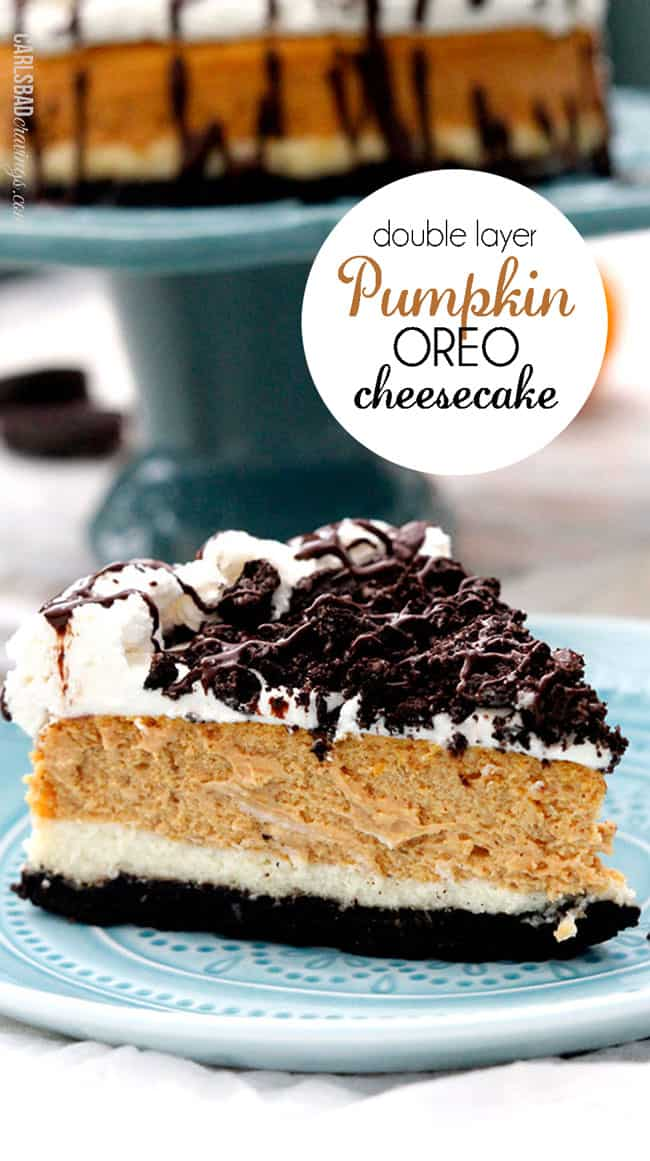 Double Layer Pumpkin Oreo Cheesecake from Carlsbad Cravings