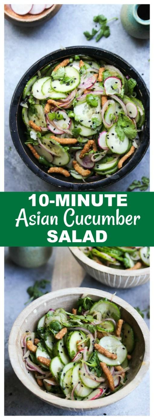 10-Minute Asian Cucumber Salad | dishingouthealth.com