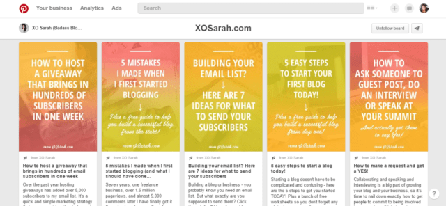XO Sarah has great branded pin style of yellow and pink with click-worthy bold text.