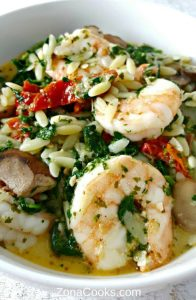 Garlic Orzo Tuscan Shrimp