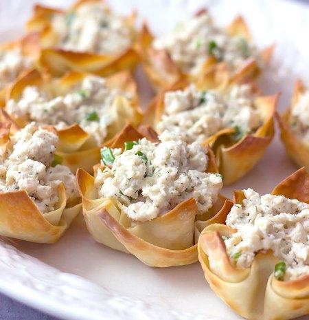 Crab Salad Stuffed Wonton Cups