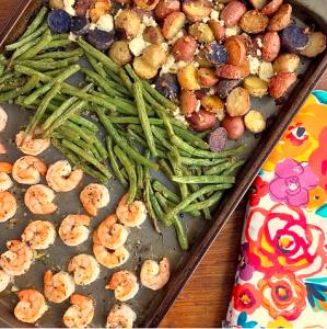 Sheet Pan Greek Shrimp, Green Beans, and Potatoes