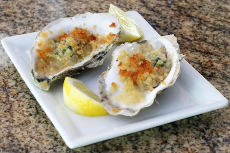 Seafood Restaurant Dishes - Herb baked oysters