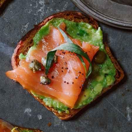 Seafood Restaurant Dishes - Salmon avocado toast