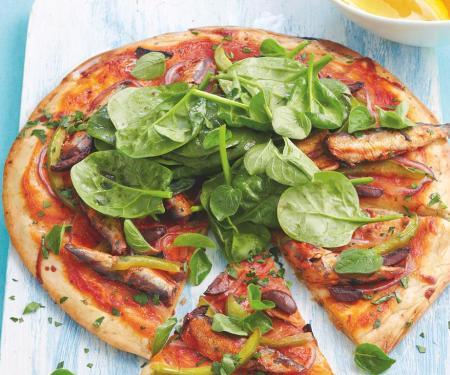 Seafood Pizzas - Mediterranean sardine pizza