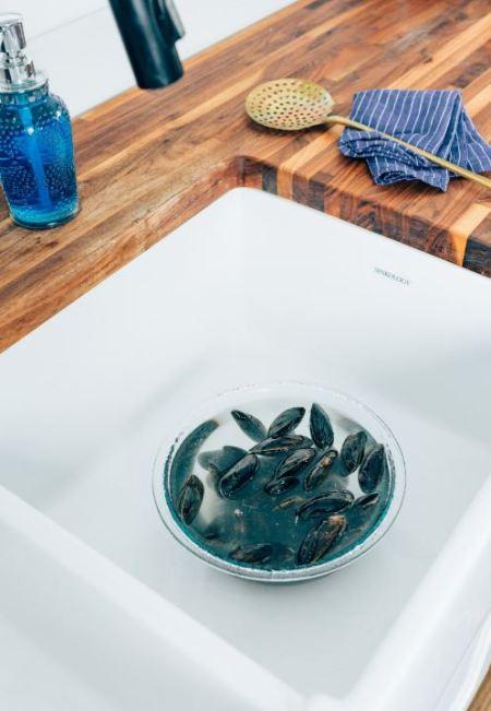 mussels - soaking in water