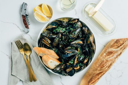 mussels - with white wine sauce
