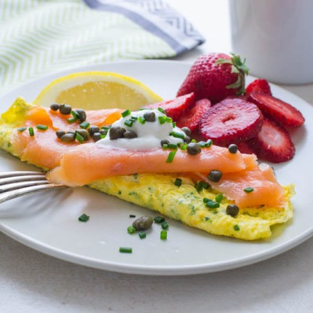 seafood meals and snacks - Salmon omelette and fruit