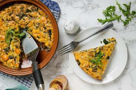 seafood breakfast - Eggs with tuna and mushroom
