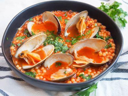 scrumptious seafood- Sardinia fregola with clams