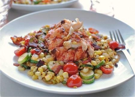 healthy summer- Lobster vegetable saute