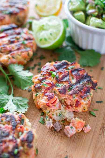 seafood leftovers - Salmon burgers with avocado salsa