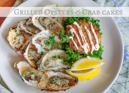 grilled seafood recipes- oysters and crab cakes