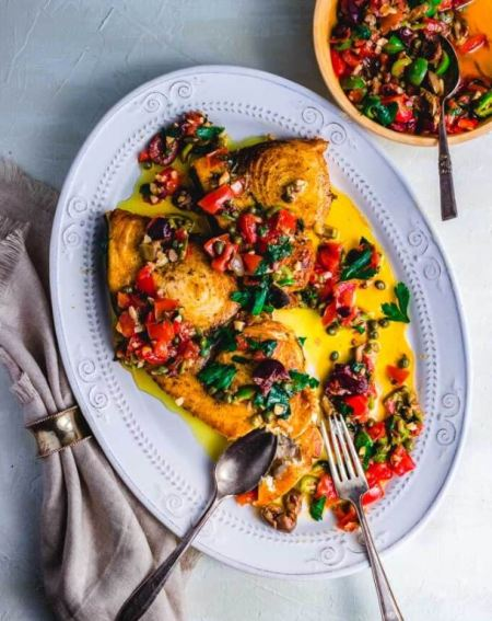pan-seared swordfish olives capers