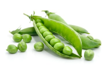 fresh green pea in the pod isolated