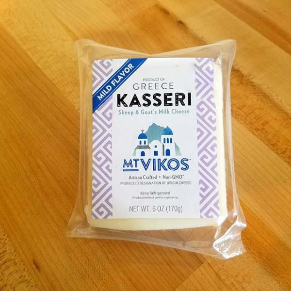 A package of Mt. Vikos Kasseri cheese.