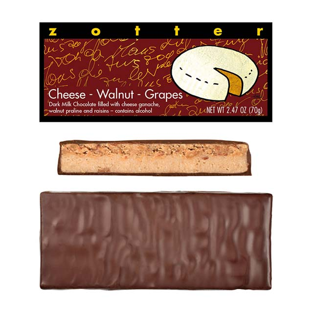 Zotter Cheese-Walnut-Grapes Hand-Scooped Chocolate Bar