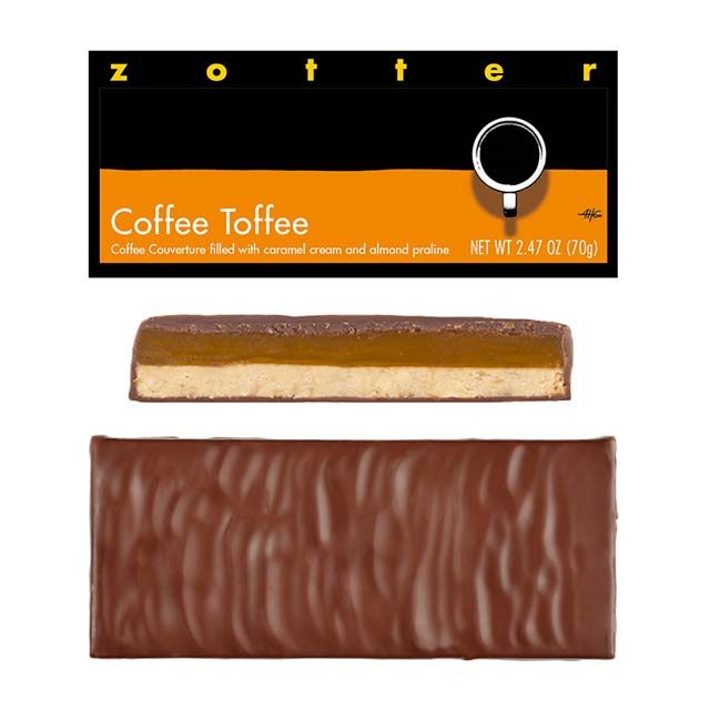 Zotter Coffee Toffee Hand-Scooped Chocolate Bar