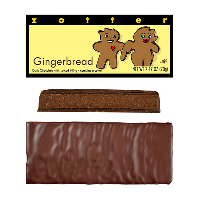 Zotter Gingerbread Hand-Scooped Chocolate Bar
